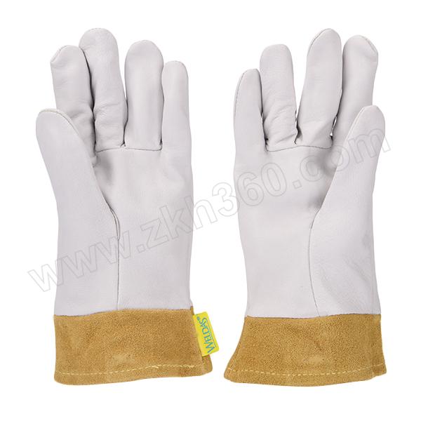 WELDAS/威特仕 白色羊青皮短袖筒焊接手套 10-1008 L 26cm 1副