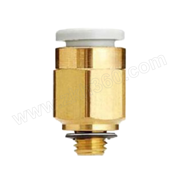 SMC KQ2系列直通接头 KQ2H06-M5A 黄铜接头 快插接口6mm 外螺纹M5 1个