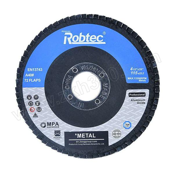 ROBTEC 诺克网基煅烧刚玉百页轮 T27-100×16-80# 22×17 72页 标准型 1片