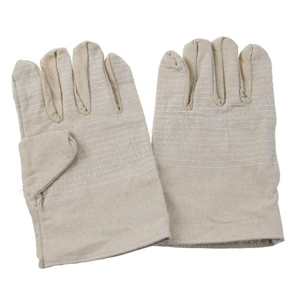 ANWENYING/安稳盈 24道线黄甲布双层帆布手套(白衬升级) 优K4 四指白色衬 95±5g 长度25±1cm 1副