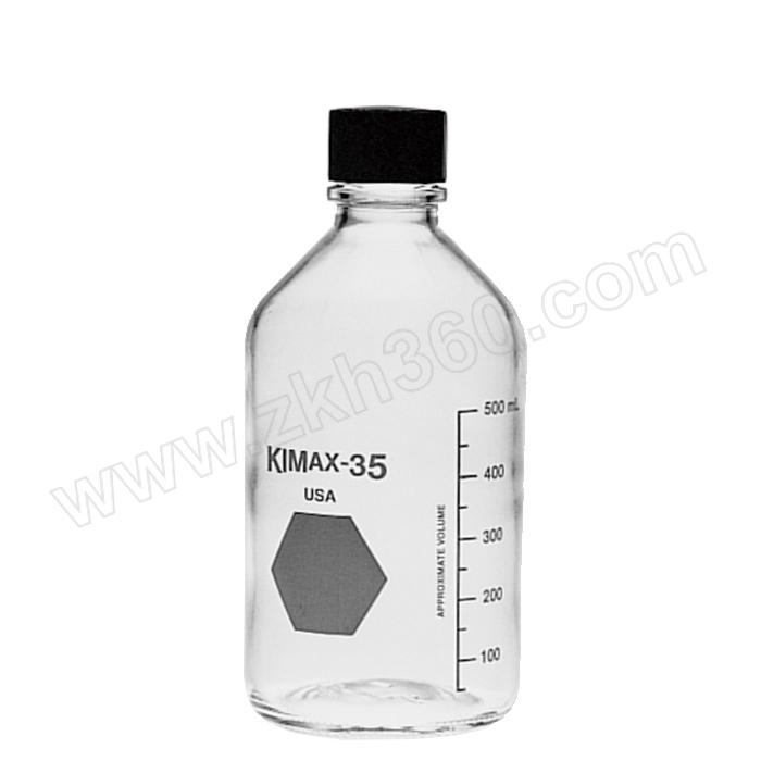 KIMBLE/肯堡 透明玻璃螺口试剂瓶附黑盖橡胶垫片 61110T-1000 1000mL 102×225mm 1个